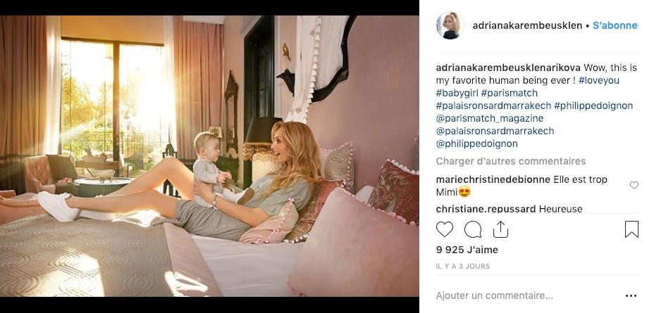 Moment complice entre Adriana Karembeu et sa petite Nina