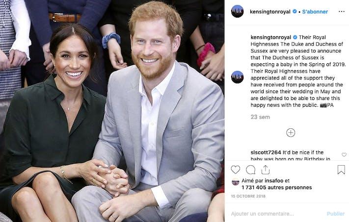Le 15 octobre, Meghan Markle et le prince Harry annonçaient attendre leur premier enfant