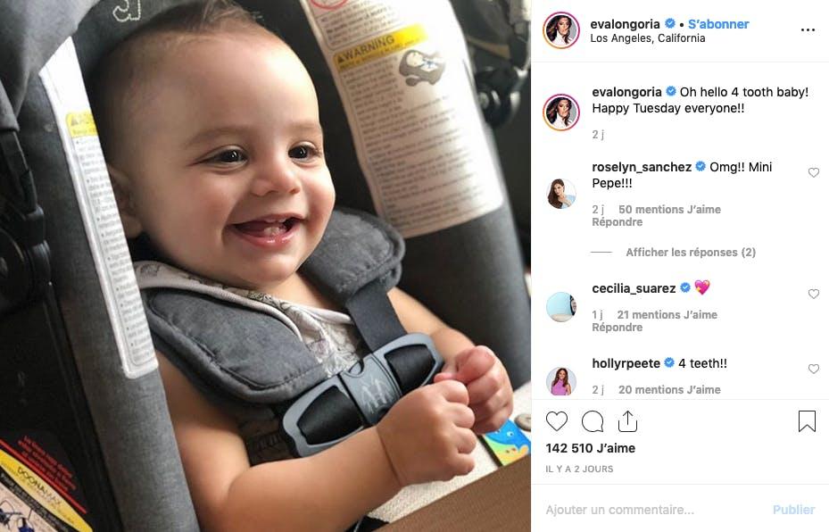 Le fils d'Eva Longoria a eu sa quatrième dent : nos félicitations !