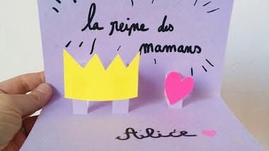 """Carte pop-up """"Reine des mamans"""" pour la fête des mères"""