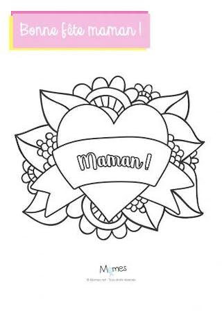 Joli cœur à colorier pour la fête des mères