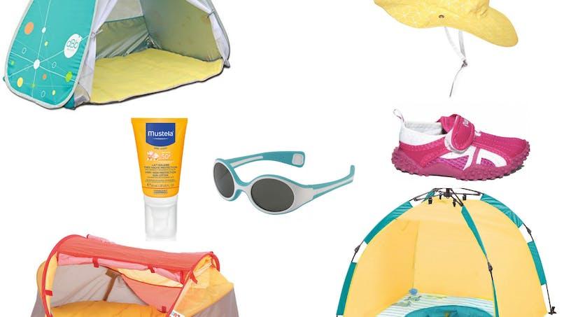 8 accessoires anti-UV indispensables sur la plage avec bébé