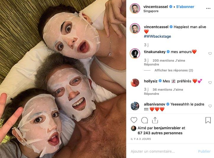 Vincent Cassel et ses filles Léonie et Deva ont enfilé leur masque (de beauté)