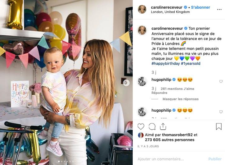Rainbow party pour le 1er anniversaire du fils de Caroline Receveur