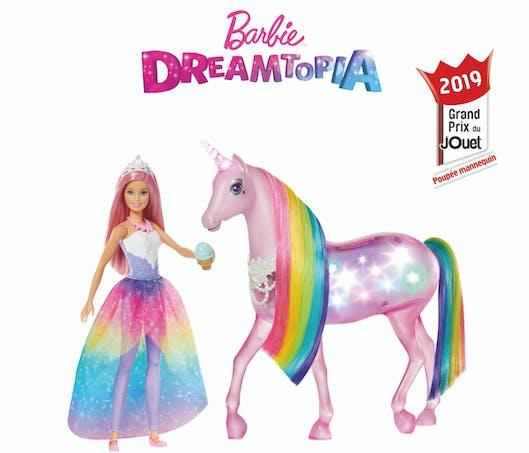 Barbie Dreamtopia et sa licorne Lumières magiques