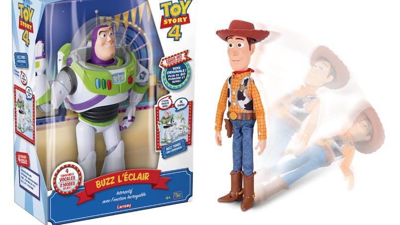 Les incroyables figurines interactives Woody et Buzz l'éclair de Lansay
