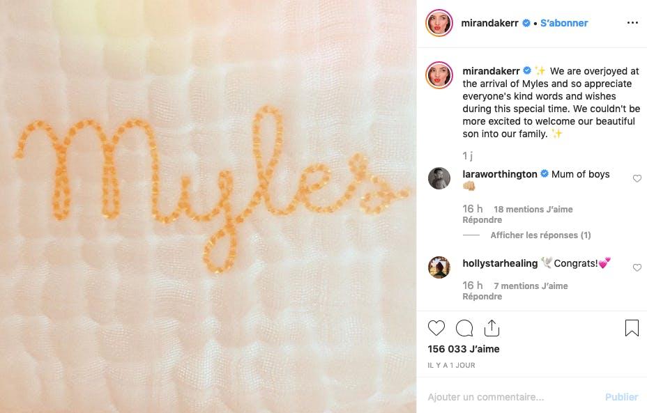 Miranda Kerr est maman d'un petit Myles, mais on n'en verra pas plus