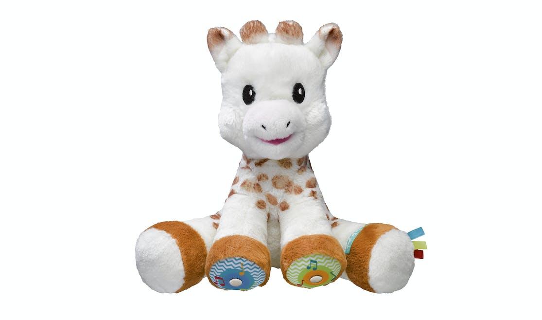 La plus célèbre des girafes devient interactive (capteurs sensoriels, musique, Touch & Music, Sophie la girafe, Vulli, 29,99€. Dès 3 mois.