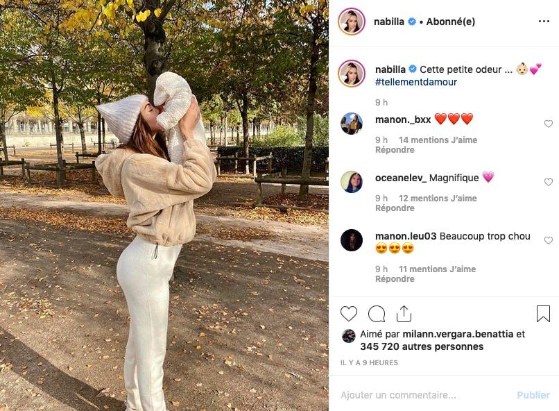 Nabilla : première balade en plein air avec Milann