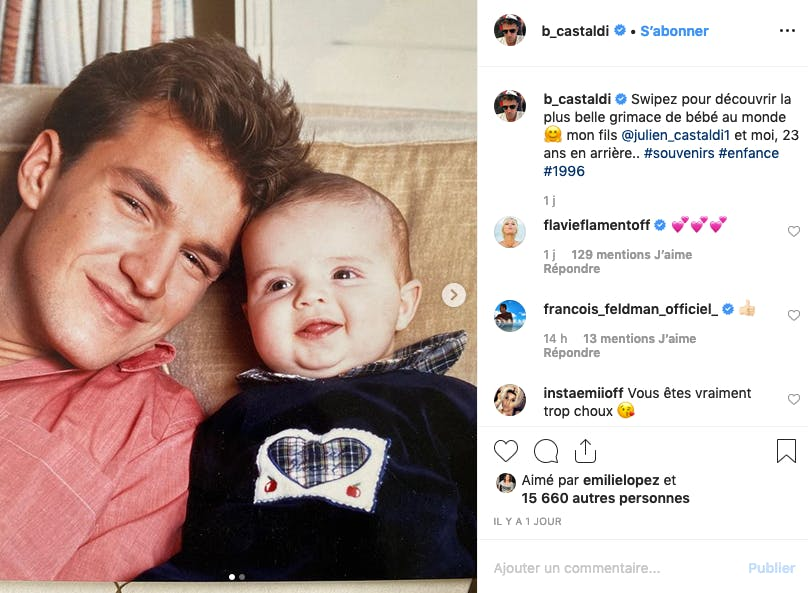 Photo nostalgie de Benjamin Castaldi et de son petit garçon devenu grand