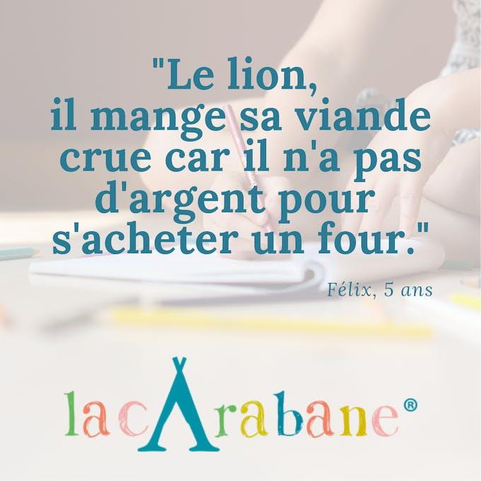 phrase d'enfants le lion La Carabane