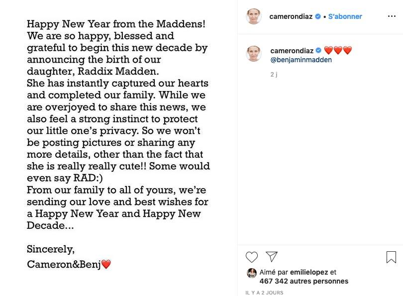 Cameron Diaz annonce être maman d'une petite Raddix ! On n'en saura guère davantage...