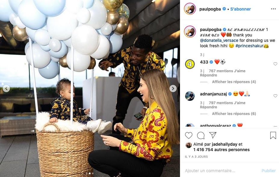 Paul Pogba : premier anniversaire de Shakur en total look Versace