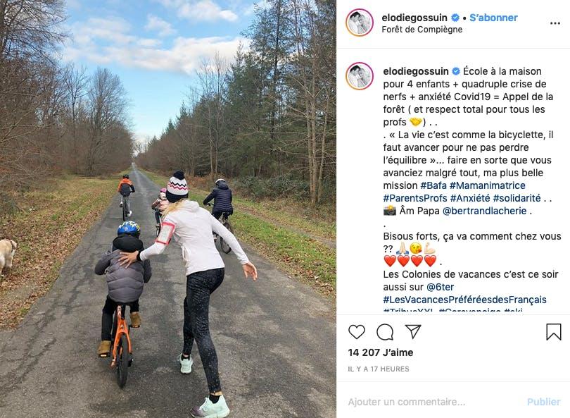Elodie Gossuin : quatre enfants + école à la maison = balade en forêt !