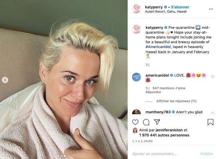 Katy Perry enceinte, confinée et au naturel