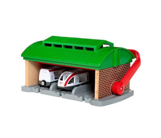 Le garage pour trains portatif