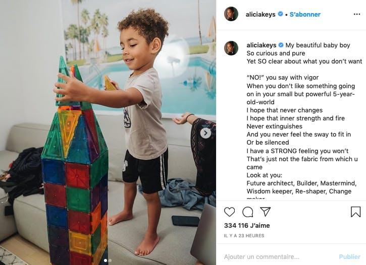 Même chose pour Alicia Keys qui ne veut pas ôter l'innoncence de son garçon