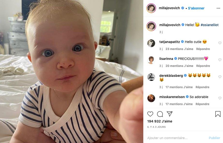 Premier selfie du bébé de Milla Jovovich
