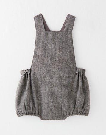Barboteuse fille en lainage grise et touche de lurex