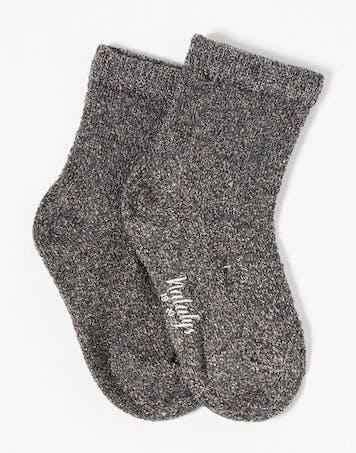 Chaussettes fille maille fantaisie gris anthracite chiné avec fil lurex doré