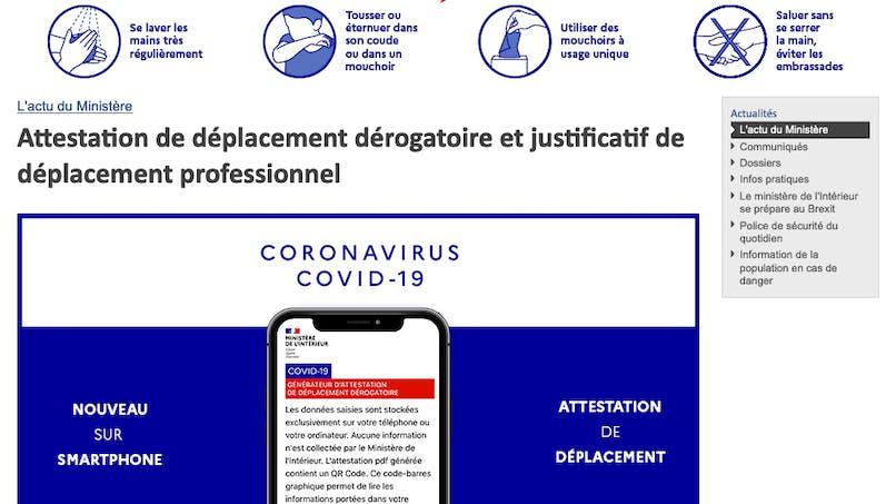 Coronavirus : l'Attestation de déplacement disponible sur smartphone dès aujourd'hui