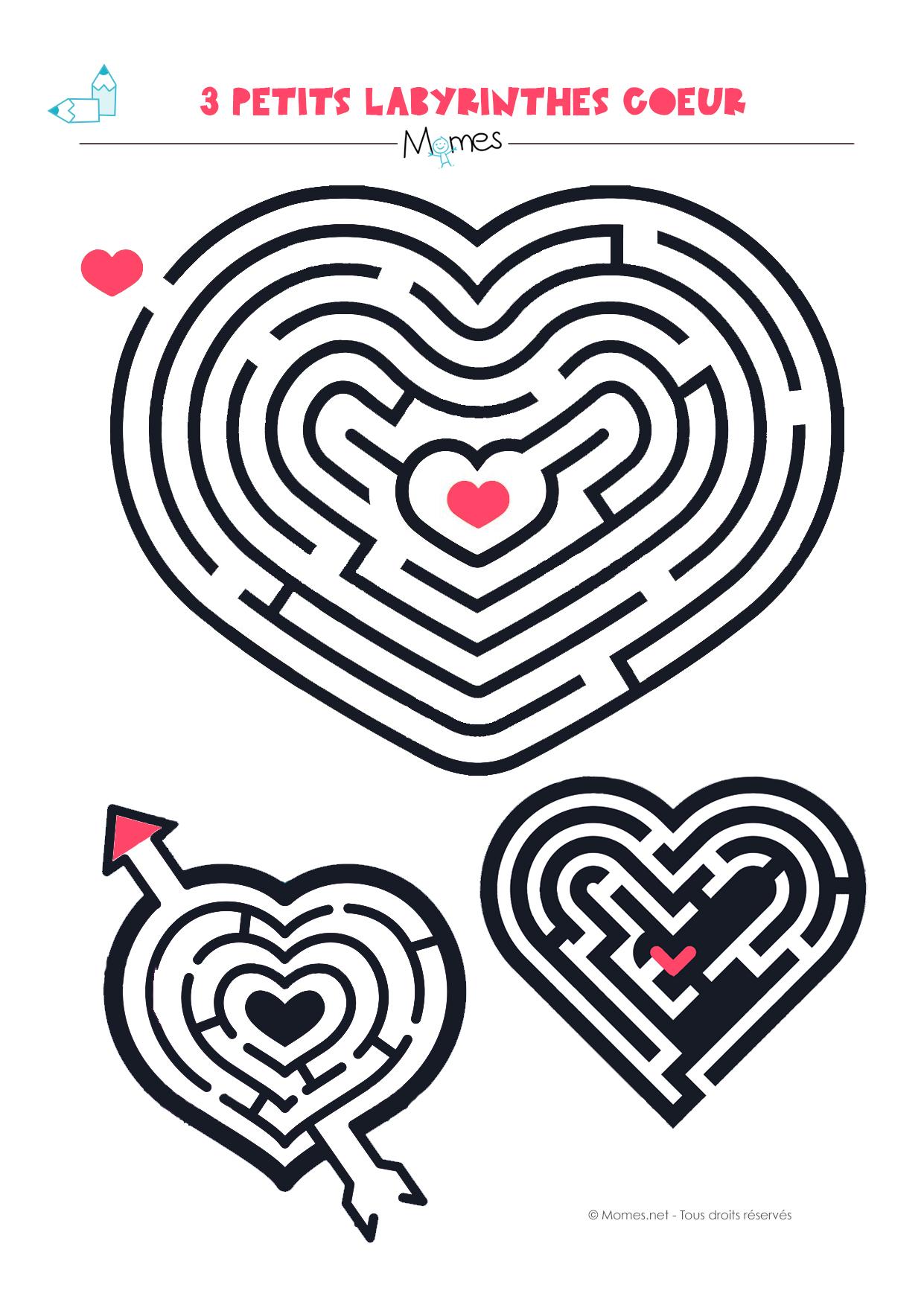 3 petits labyrinthes en formes de coeur - Jeu labyrinthe a imprimer ...