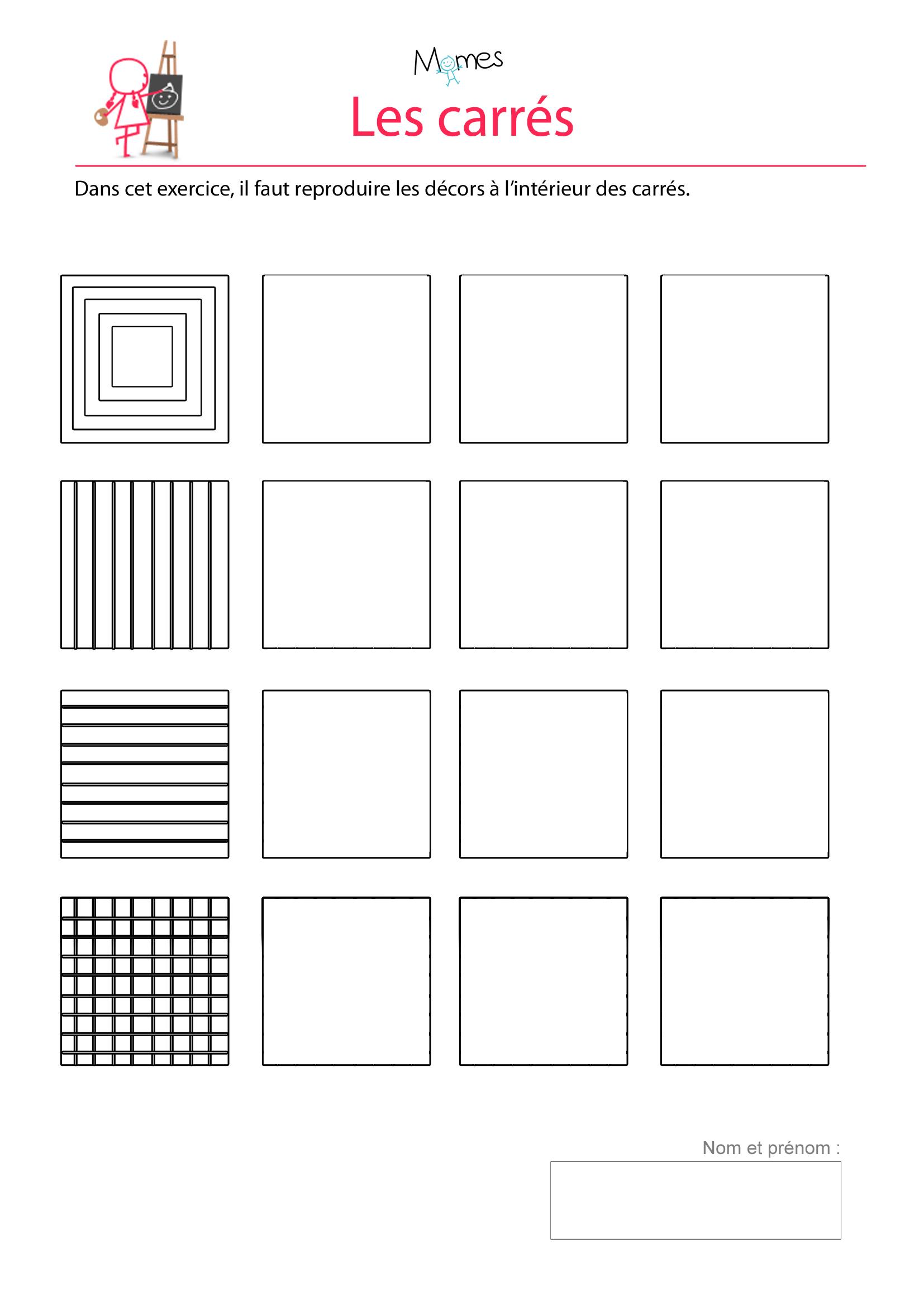 exercice tracé ligne carré