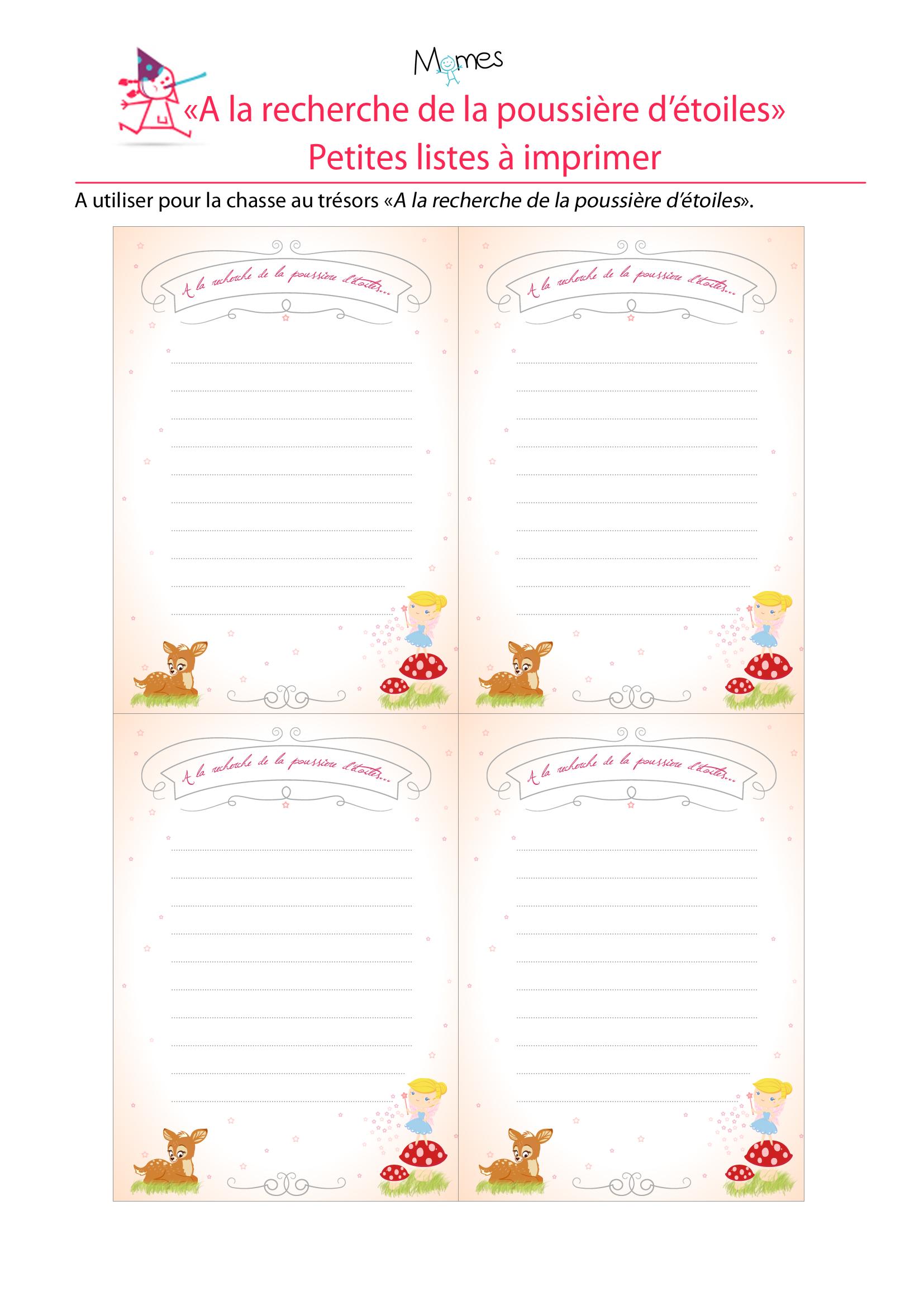 """Petites listes à imprimer pour le jeu """"à la recherche de la poussière d'étoiles"""""""