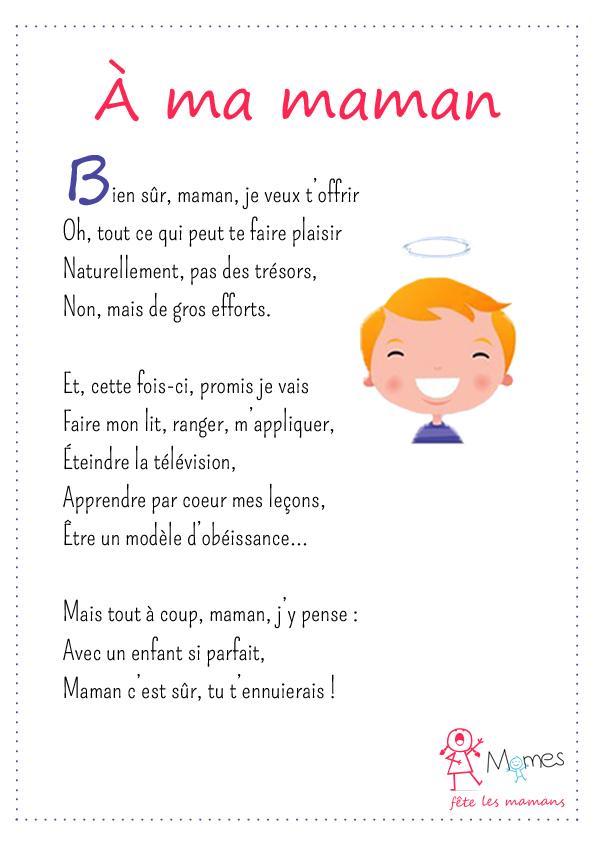 poème fête des mères À ma maman