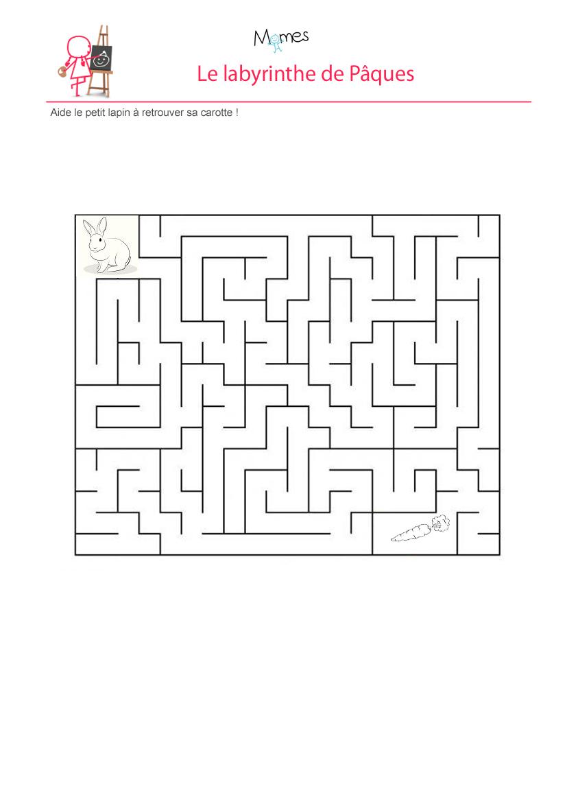 Aide le lapin à retrouver sa carotte : labyrinthe
