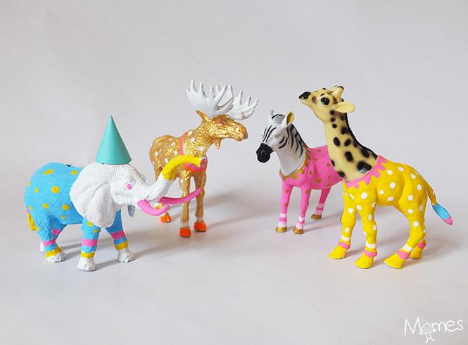DIY animaux plastique peints