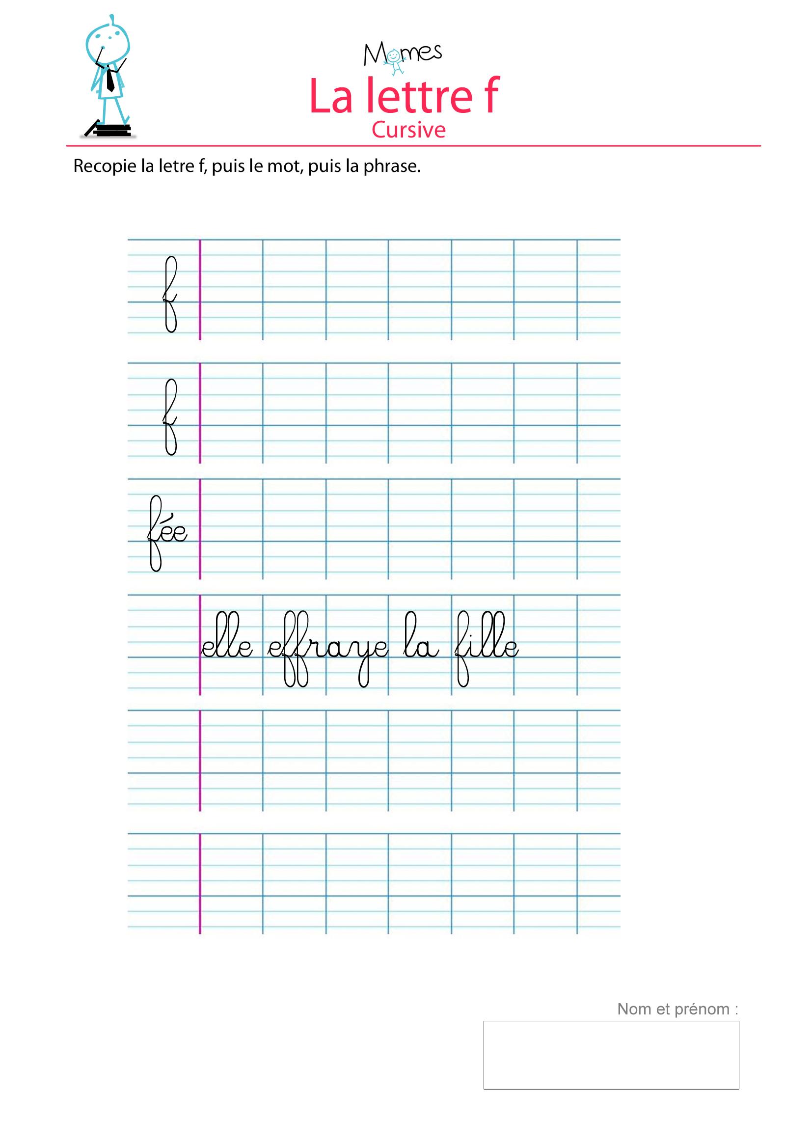 Decoration Lettre En Bois : Apprendre à écrire la lettre f momes