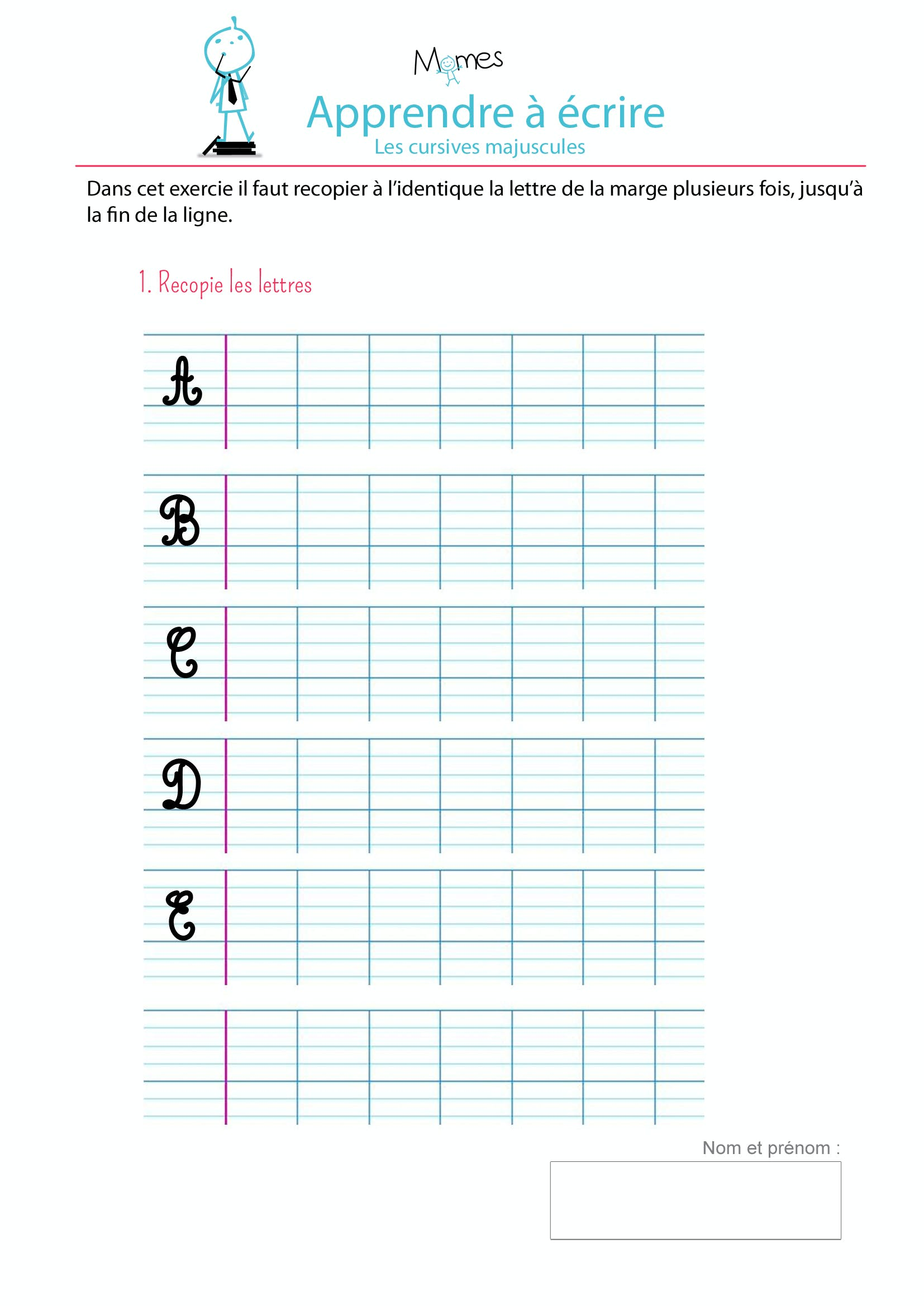 Apprendre crire les cursives majuscules a b c d e - Lettre de l alphabet en majuscule a imprimer ...