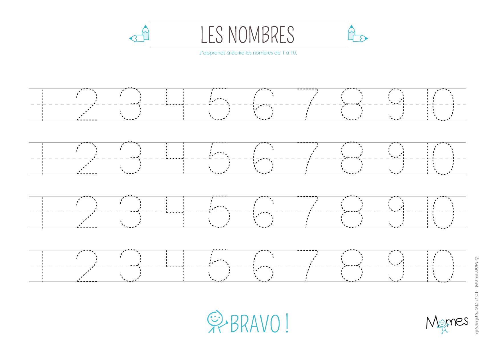 Exceptionnel Apprendre à tracer les nombres - Momes.net AK71