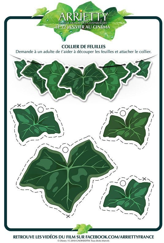 Arrietty : collier de feuilles