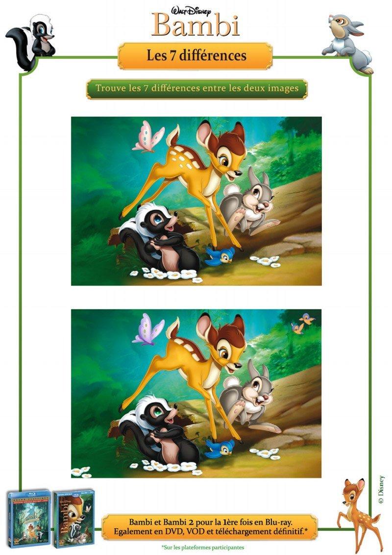 Bambi : jeux des 7 différences