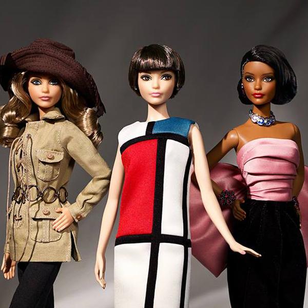Trois Poupées Barbie habillées en Yves Saint Laurent Mattel