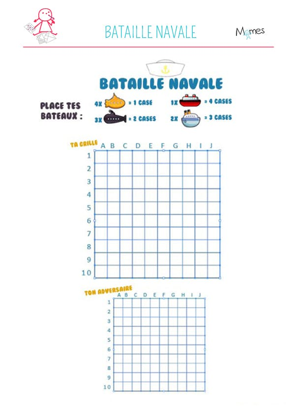 Bataille navale à imprimer