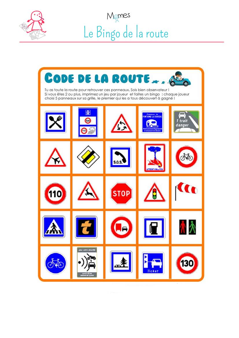 Bingo de la route à imprimer