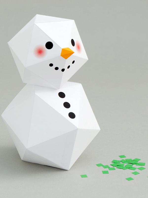 Bonhomme de neige g om trique par mini eco - Comment faire un bonhomme de neige en papier ...