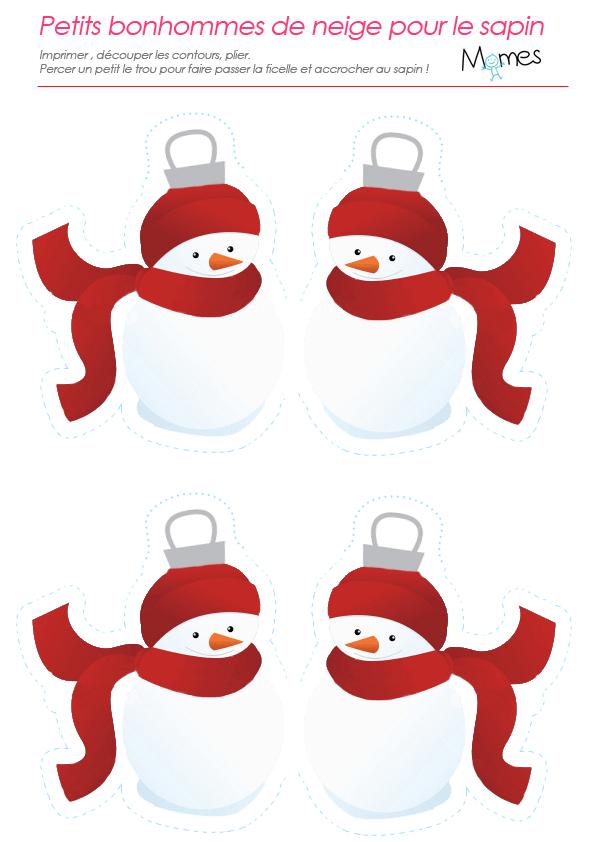 Bonhommes de neige à imprimer