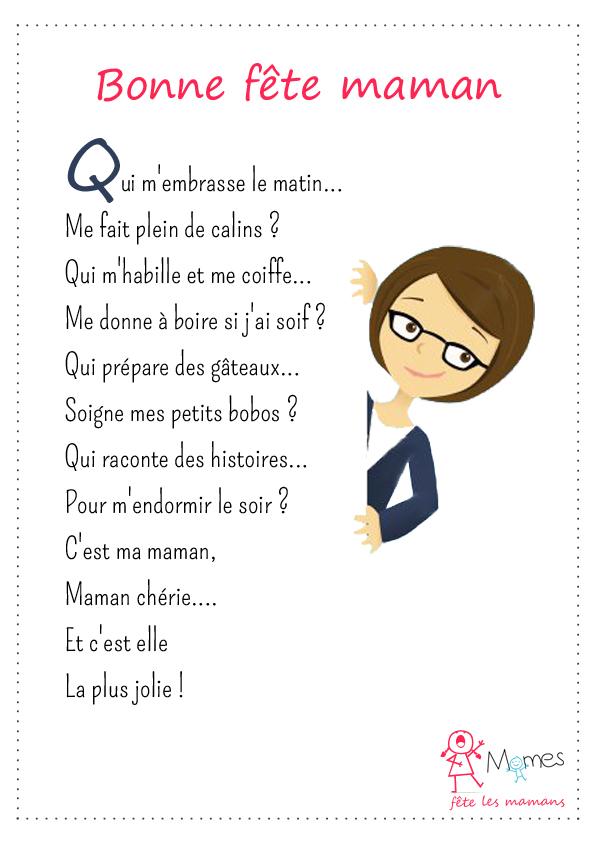 poème fête des mères Bonne fête, maman !