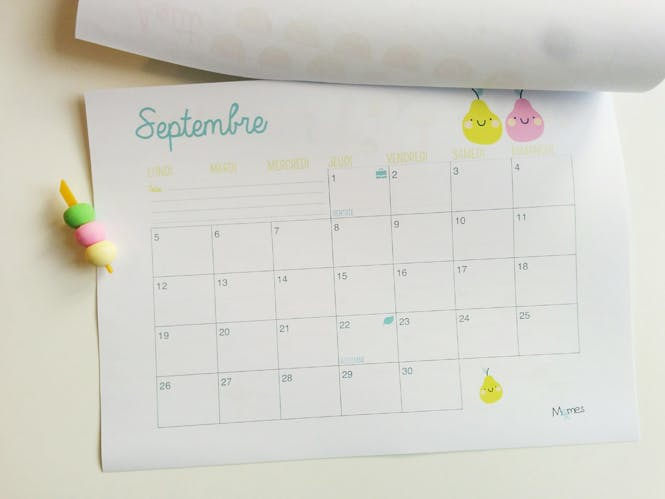 calendrier a imprimer septembre