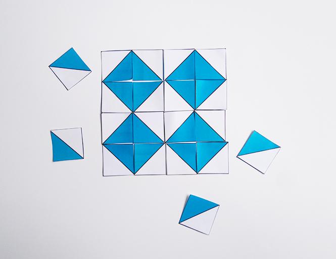 carrés bicolores