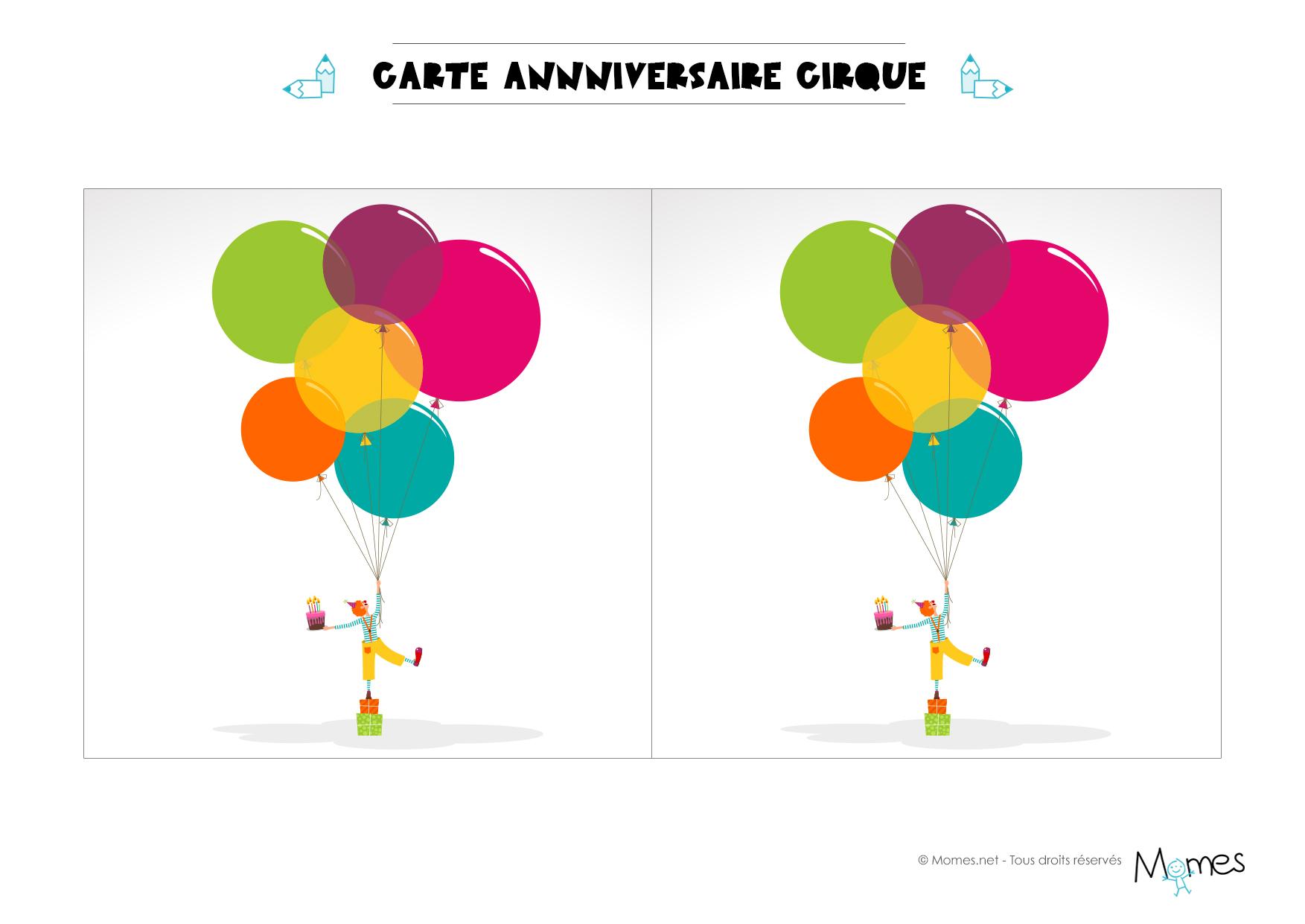 Carte anniversaire cirque imprimer - Carte anniversaire 1 ans a imprimer ...