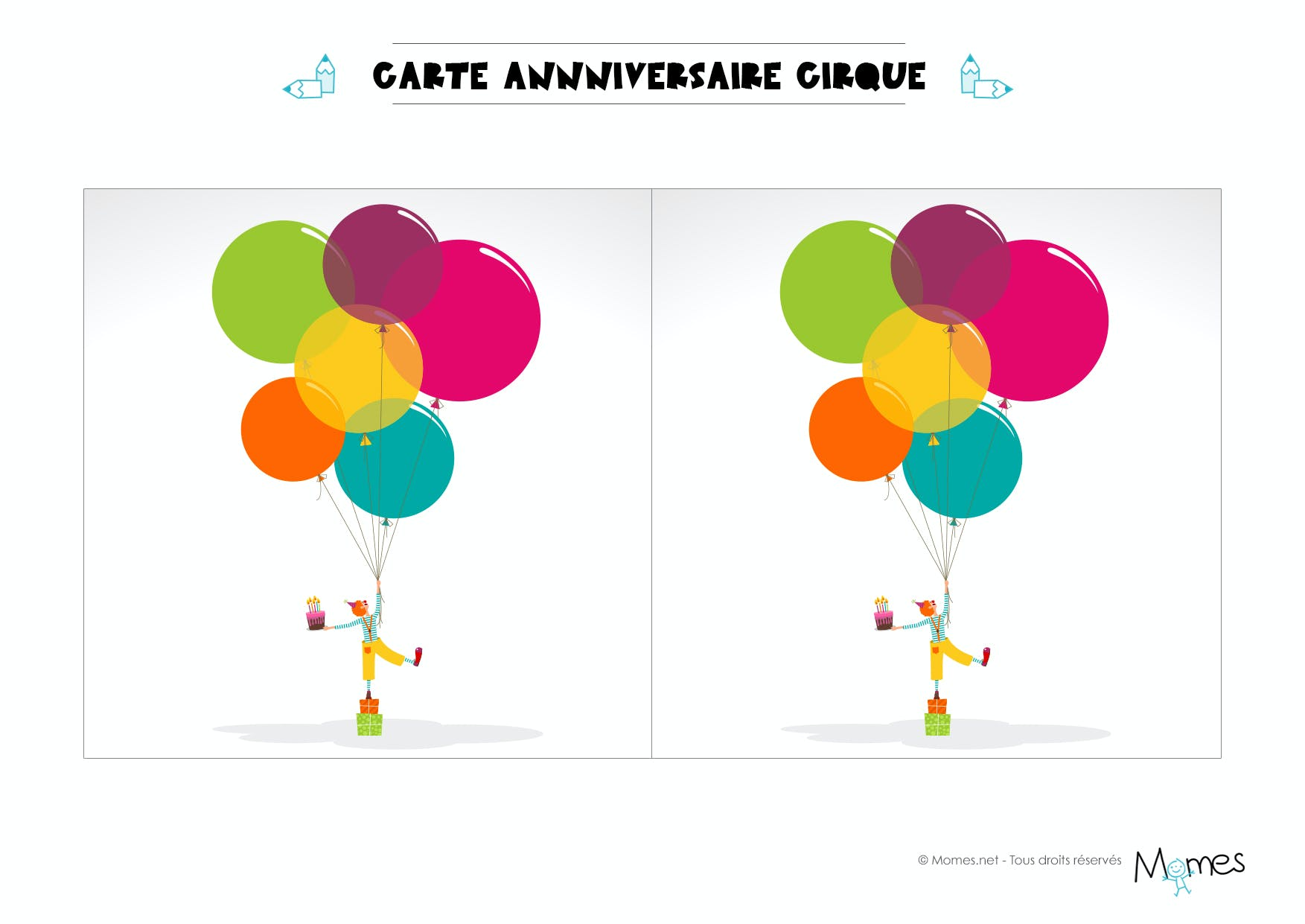 carte anniversaire cirque imprimer