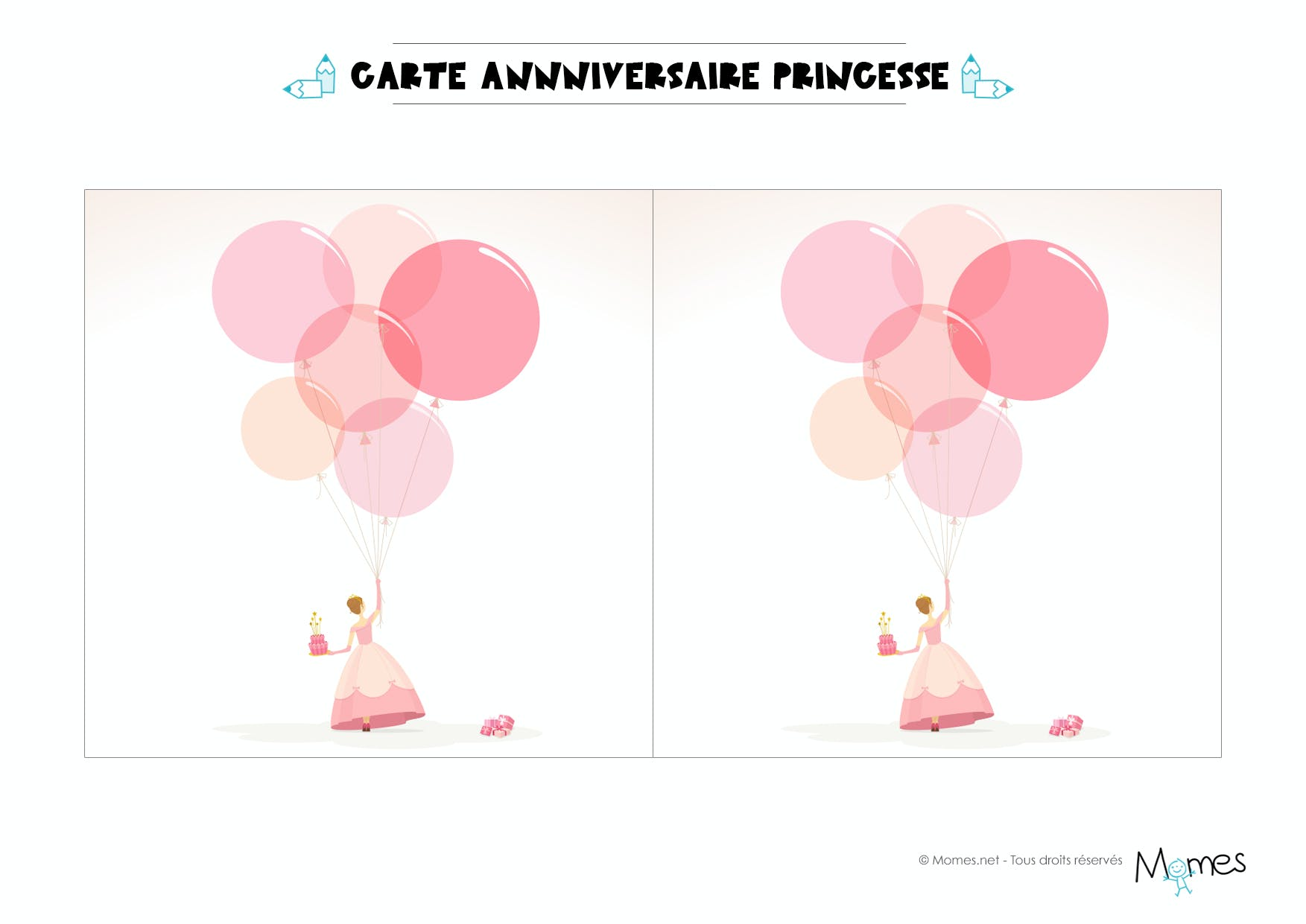 carte anniversaire princesse