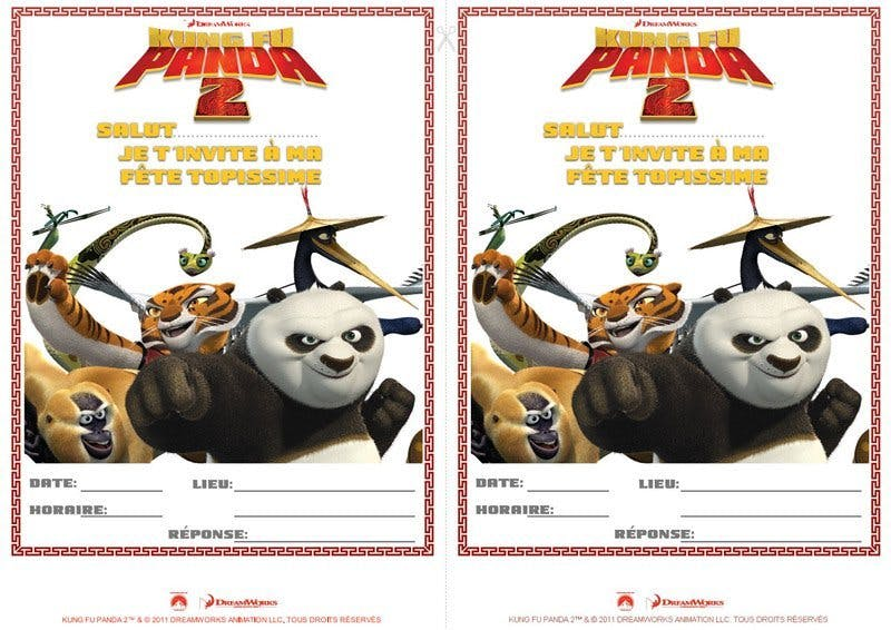 Carte d'invitation Kung-Fu Panda