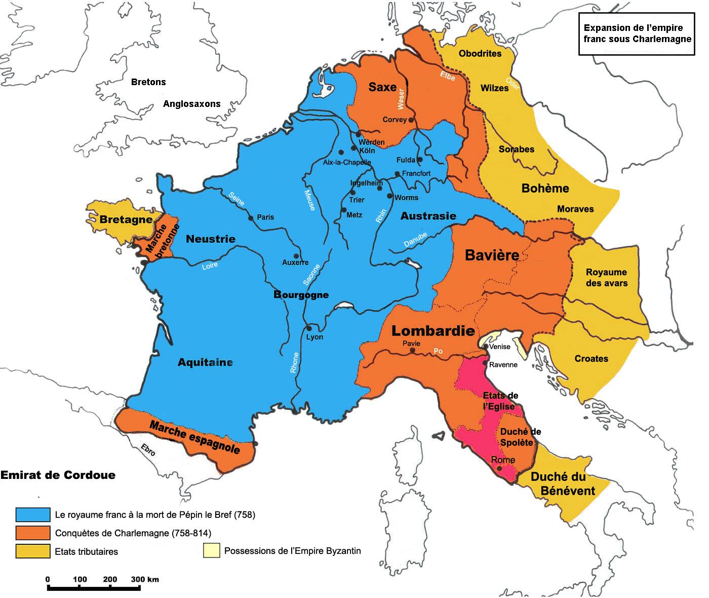 Carte de l'extension de l'Empire carolingien sous Charlemagne