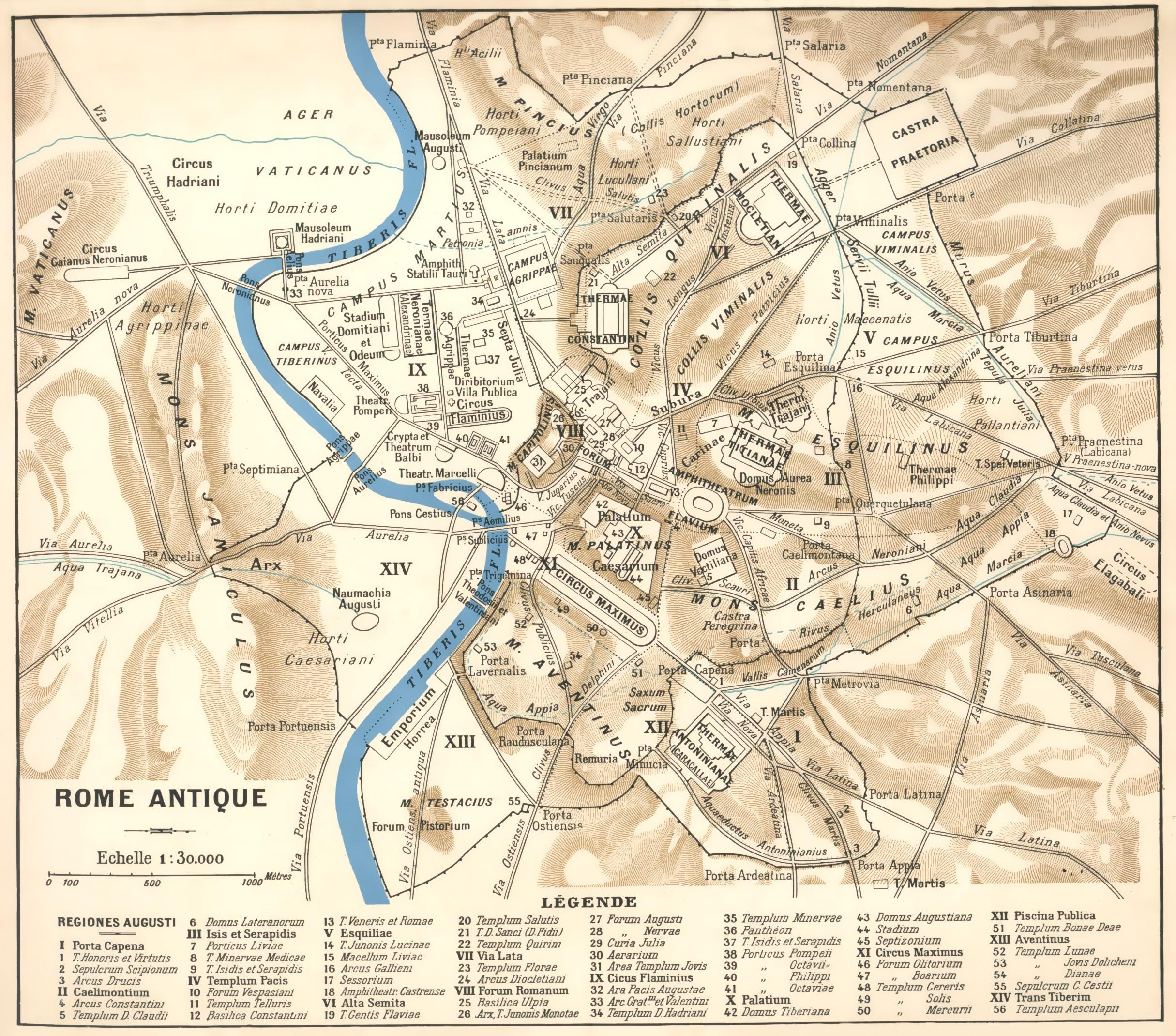 Carte de la ville de Rome au IVe siècleissu du Nouveau Larousse Illustré, XIXe siècle